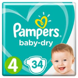 COUCHE PAMPERS Baby dry Couches bébé T4 x34
