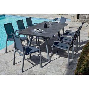 SALON DE JARDIN  Table de jardin + 8 fauteuils empilables en alumin