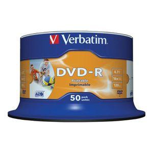 CD - DVD VIERGE Verbatim 50 x DVD-R 4.7 Go 16x surface imprimable