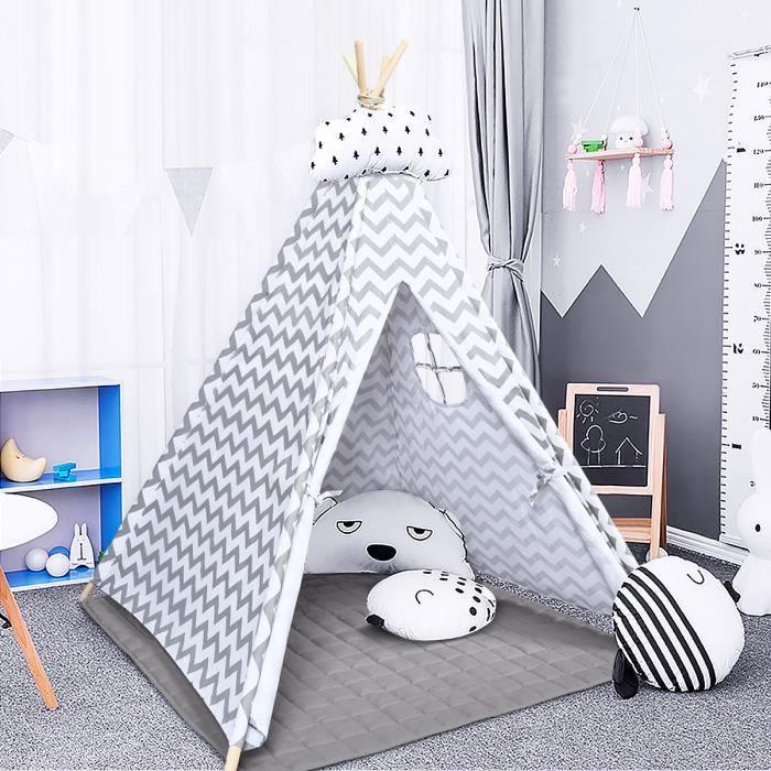 COSTWAY Tente Tipi de Jeu pour Enfants, Style d'Indien avec Tapis 160 x 120 x 120 cm,Sac de Transport, pour Intérieur et Extérieur