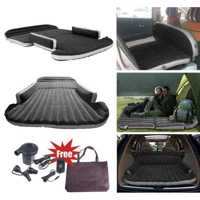 Matelas gonflable voiture SUV pliable Lit de l'air Siège d'auto Noir - KIT avec 1 pompe 1 sac - pour voyage camping SINBIDE®