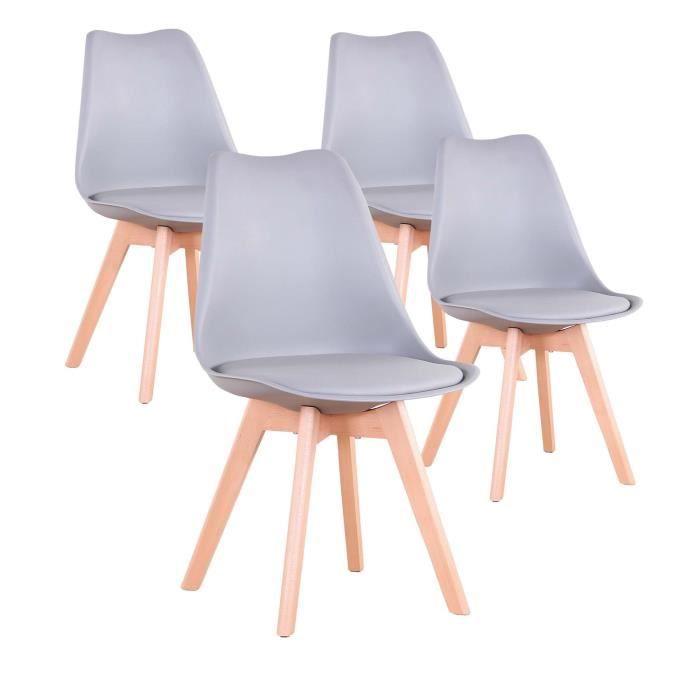 Lot de 4 Chaises Scandinaves Grises Lorenzo Chaise de salle à Manger Design en Simili cuir et bois massif
