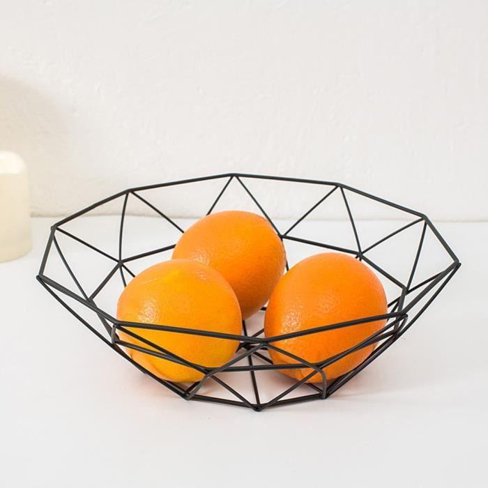 Affichage de bureau de stockage de cuisine de bol en métal de panier de fil de légume de fruit géométrique ZSD90227133BK_Laisher