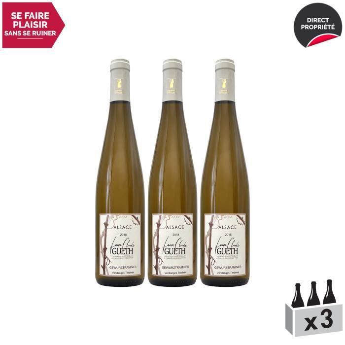 Alsace Douceur Gewurztraminer Vendanges Tardives Blanc 2018 - Lot de 3x75cl - Domaine Gueth - Vin AOC Blanc d' Alsace - Cépage