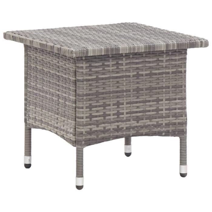 MAG💖- Table basse de jardin Table à thé Table d'extérieur pour Jardin, Terrasse Gris 50x50x47 cm Résine tressée♫8523