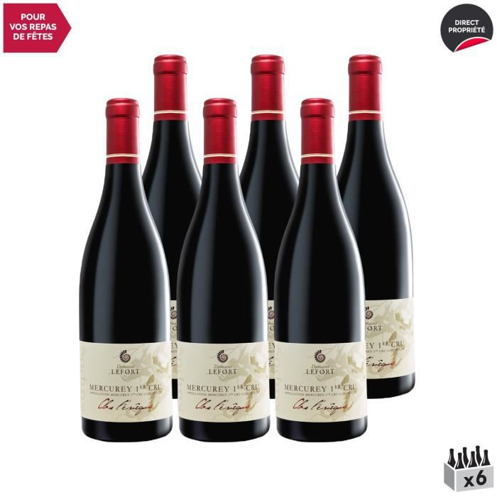 Mercurey 1er Cru Le Clos l'Evêque Rouge 2018 - Lot de 6x75cl - Domaine David Lefort - Vin AOC Rouge de Bourgogne