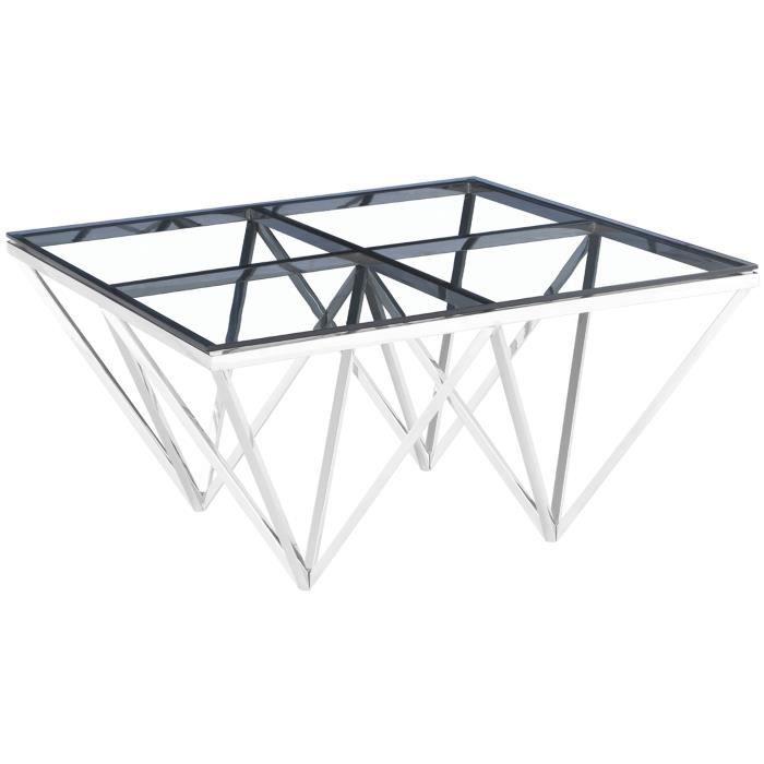 Table basse design carré en acier inoxydable poli argenté et plateau en verre trempé transparent L. 80 x P. 80 x H. 42 cm