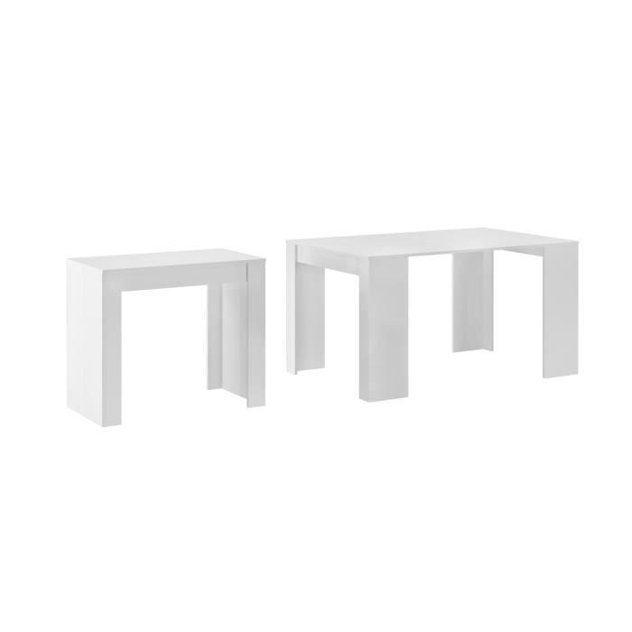 Skraut Home - Table Console extensible, rectangulaire avec rallonges, jusqu'à 140 cm, pour salle à manger/séjour, Blanc mat.