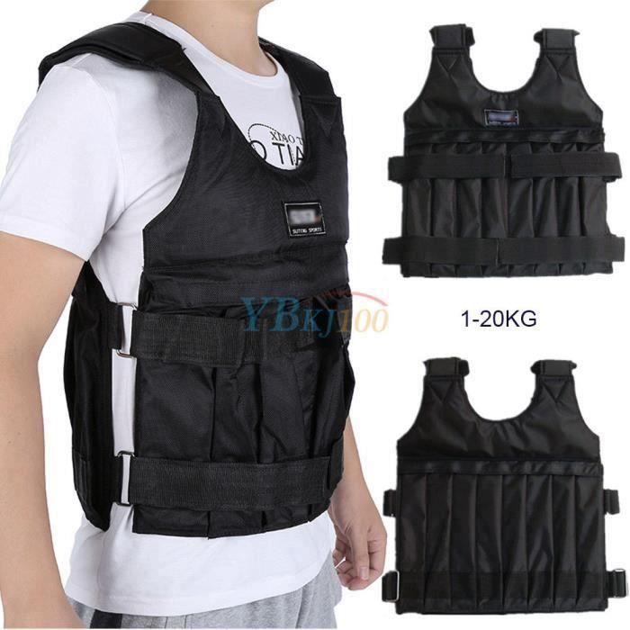 Gilet de veste Max 20 kg de chargement Poids Gilet d' Exercice Gilet noir réglable sable Vêtements