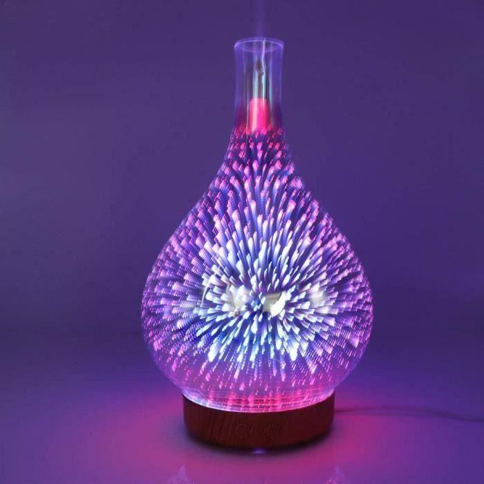 Lampe de Nuit Diffuseur d'huiles Essentielles Original Veilleuse LED Lumière 3D Coloré en Verre 100ml MKK57