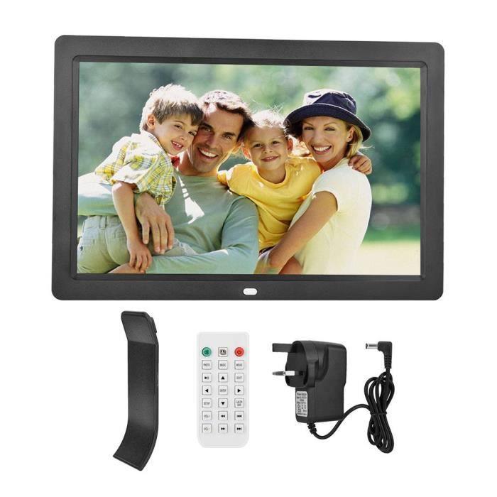 cadre photo d'alarme 12 pouces 1280 * 800HD cadre photo numérique réveil lecteur album télécommande noir UK