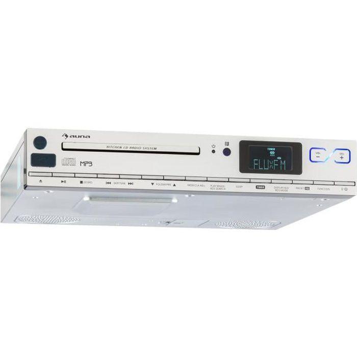 auna KCD-20 - Radio de cuisine encastrable avec lecteur CD, port USB pour lecture MP3, tuner radio FM RDS et réveil - télécommande