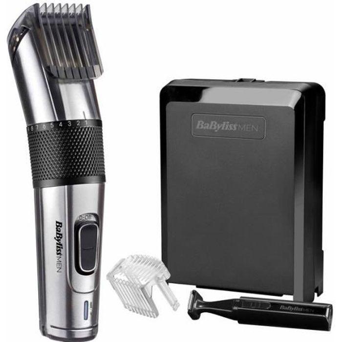 BABYLISS E977E - Tondeuse à cheveux CARBON STEEL - 26 étapes de longueur - Sans fil - Lame auto aiguisable acier inoxydable - Noir
