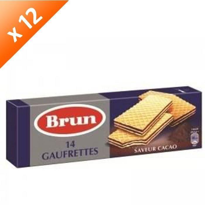 [LOT DE 12] Gaufrettes saveur cacao 146 g Brun