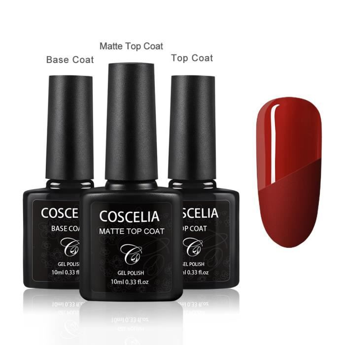 Base Coat Top Coat & Top Coat Mat Vernis Semi Permanent 3 x 10ml UV LED Vernis à Ongles Soak Off Top Coat Mat Semi Permanent