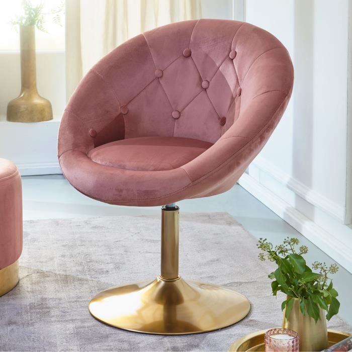 FineBuy Chaise longue Velours Fauteuil Club Ajustable Tournante Salon Rembourrée [Rose]
