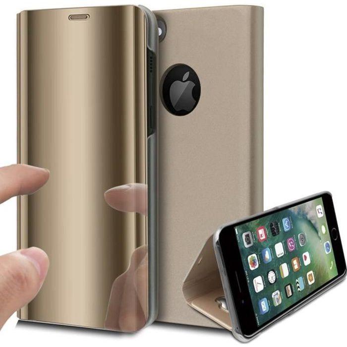 Coque iPhone 8 Rabat Transparent Support Or
