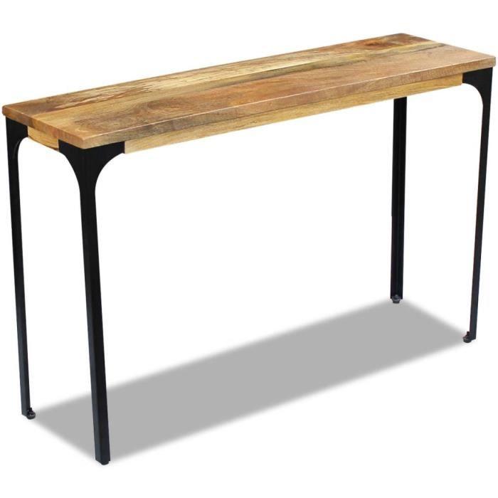 Table console extensible Table d'Appoint Table d'entrée contemporain Bois de manguier 120 x 35 x 76 cm