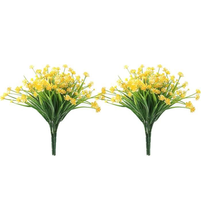 12Pcs Fleur Artificielle en Plastique ExtéRieur Arbuste Plante Jardin Mariage Ferme IntéRieur ExtéRieur DéCoration (Jaune)