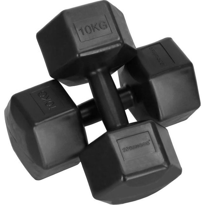 SPRINGOS® Haltères 2x 10 kg Hexagon Dumbbells Entraînement de force pour la gymnastique et le fitness