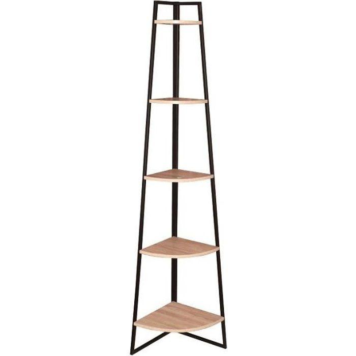 Étagère angle Désert 5 niveaux bois acier