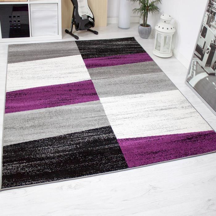 Tapis de Salon Géométriques Violet Gris Blanc et Noir [80x150 cm]