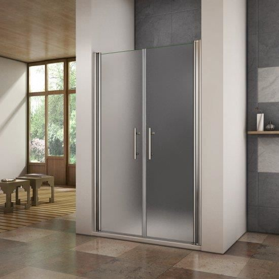 AICA Porte de douche 90x185cm porte battante verre satin/é et anticalcaire porte battante en niche