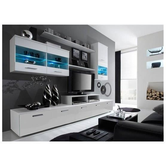 Meuble tv design logi blanc achat vente meuble tv for Photo meuble tv design