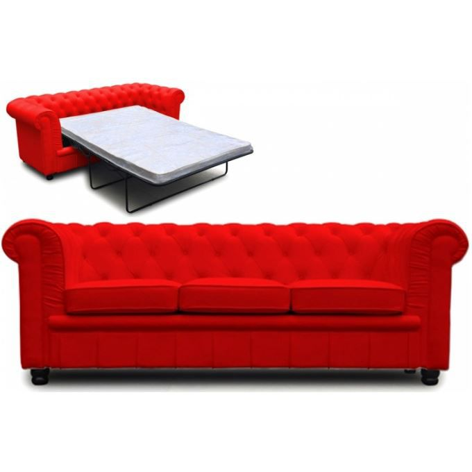 canap chesterfield convertible rouge avec matelas achat. Black Bedroom Furniture Sets. Home Design Ideas