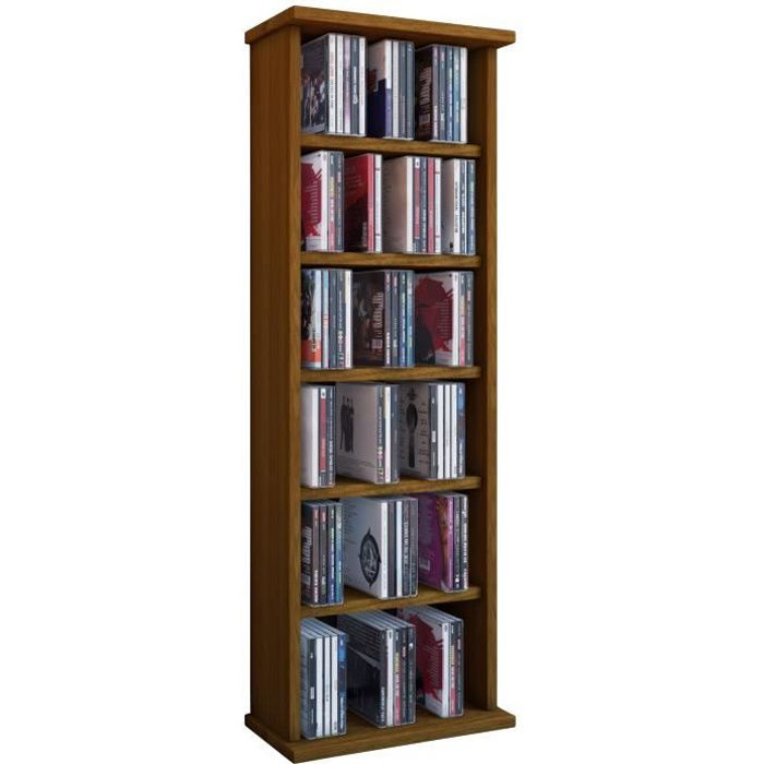 vostan tour rangement biblioth que cd dvd 150 cd noyer sans portes vitr s achat vente. Black Bedroom Furniture Sets. Home Design Ideas