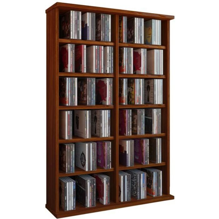 ronul tour rangement biblioth que cd dvd 300 cd sans portes noyer achat vente biblioth que. Black Bedroom Furniture Sets. Home Design Ideas