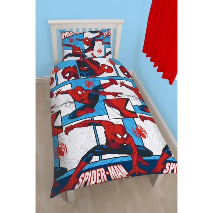 parure de lit spiderman housse de couette r versible achat vente parure de couette cdiscount. Black Bedroom Furniture Sets. Home Design Ideas
