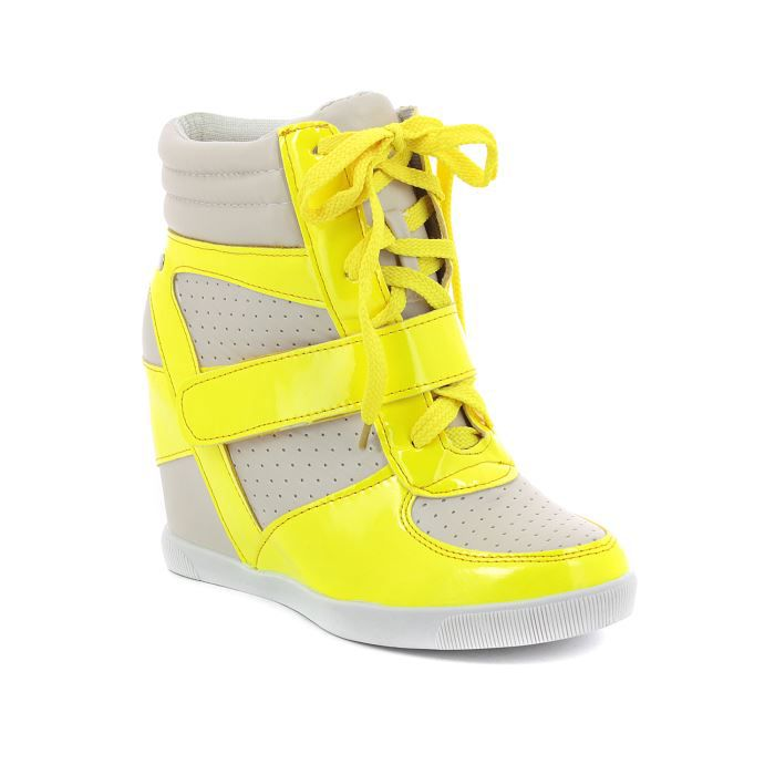sneakers compens es beige et jau femme jaune fluo achat vente sneakers compens es beige e. Black Bedroom Furniture Sets. Home Design Ideas