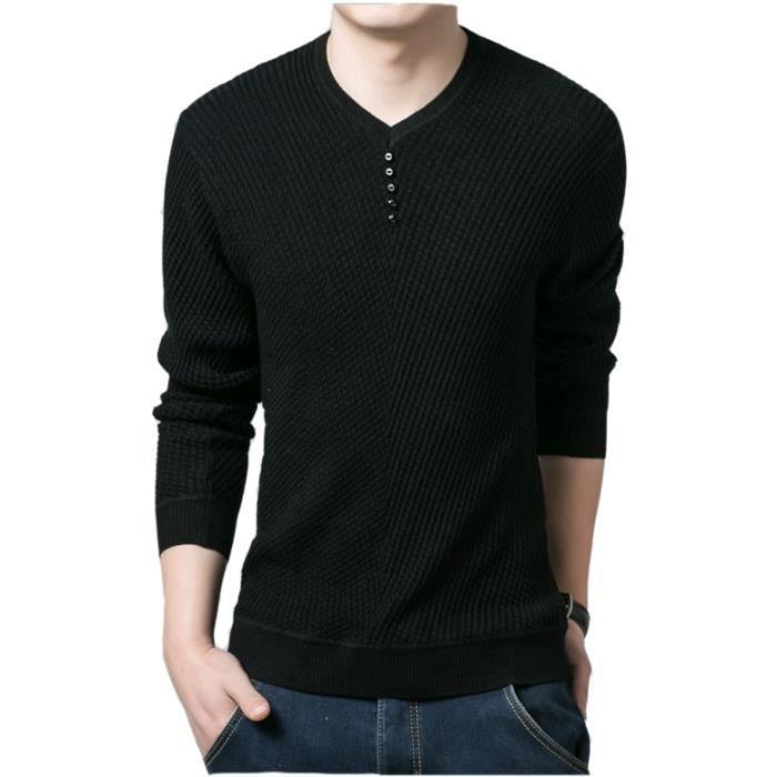 vraiment à l'aise prix modéré 100% de qualité supérieure T-shirt Homme Manches Longues Mode Col V Bouton