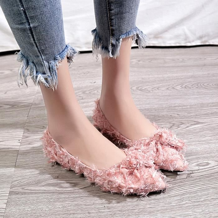 Slip Simples Les Flat Femmes Chaussures Low Profonde Talon Toe Peu Ponited Rose Bowknot xfnPwqp86f