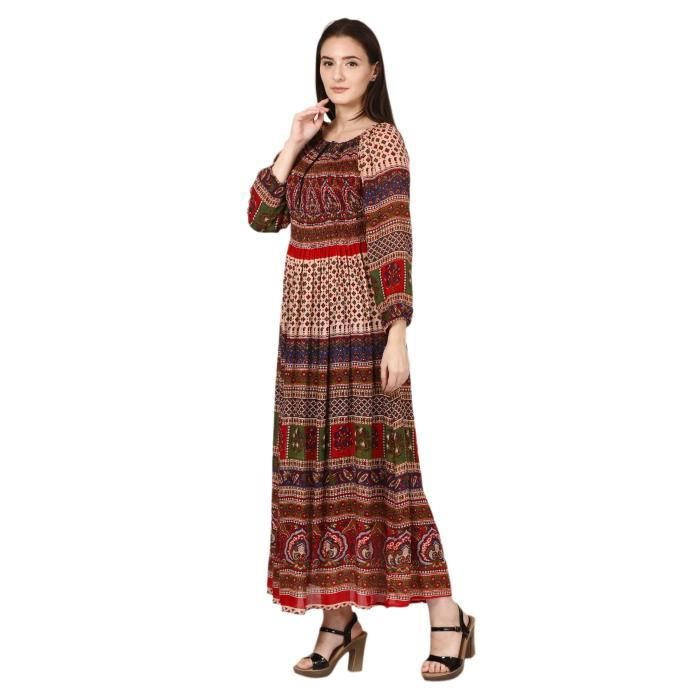 Womens Maxi Dress - Rajasthani Digital Print & Elasticity Chest 1XOY0N Taille-32