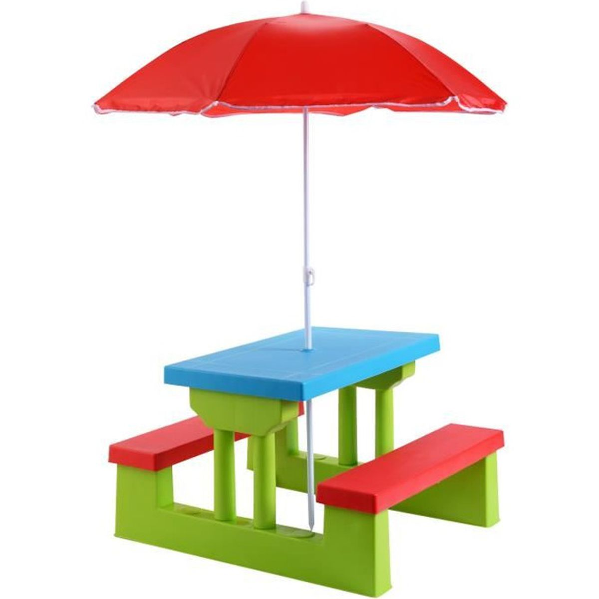 ensemble de jardin pour enfant table bancs avec parasol. Black Bedroom Furniture Sets. Home Design Ideas