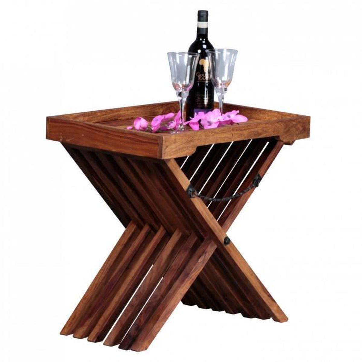 Table en bois massif design sheesham table pliante servant - Table basse en bois massif design ...