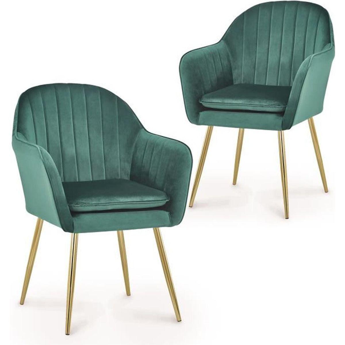 Lot de 7 chaises avec accoudoirs en velours vert EDWIGE - Achat
