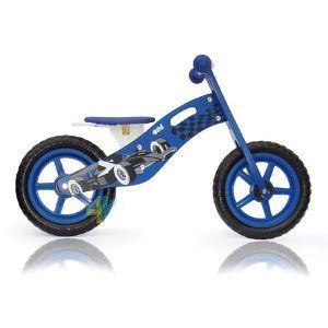 DRAISIENNE Draisienne bois garçon bleu roues pneumatiques mot