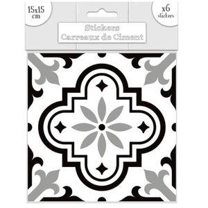 STICKERS Set de 6 stickers 'Carreaux de Ciment' noir - 15x1
