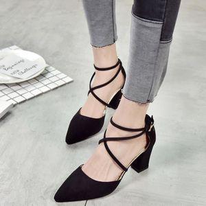 ESCARPIN Mode décontractée bout pointu talon carré chaussur