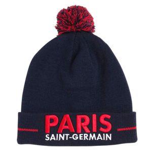 CASQUETTE PSG - Bonnet  Officiel 'Paris' à Pompon - Bleu ail