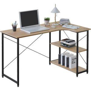 BUREAU  WOLTU Table de bureau en bois et acier - 1 étagère