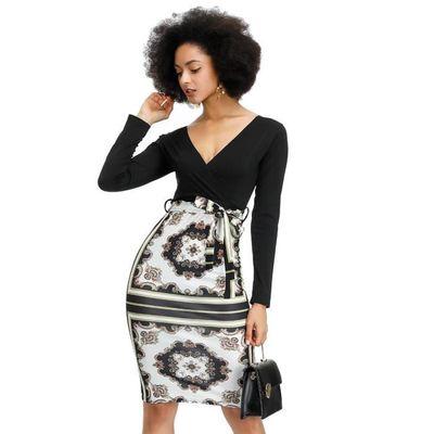 Femmes Africaines Sexy Col En V Robe Imprime Ethnique Classique Mode Robes Noires 2019 Decontracte Manches Longues Robe Type Noir Noir Achat Vente Robe Cdiscount