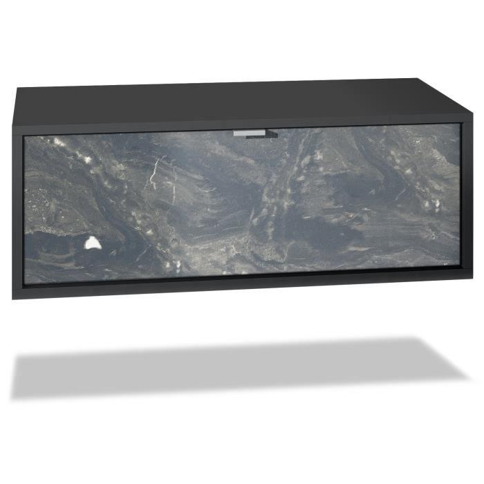 Meuble TV Lana 80 armoire murale lowboard 80 x 29 x 37 cm, caisson en noir mat, façades en Marbre Graphite