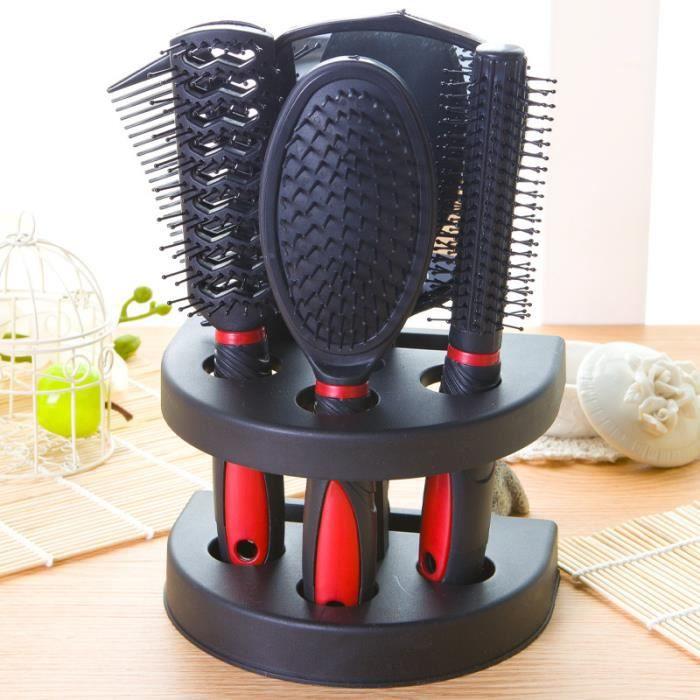 6 En 1 Peignes Fixé Peigne Cheveux Miroir Peigne De Massage Kit De Voyage
