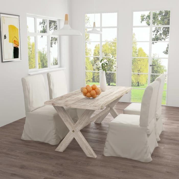 FAN Table de salle à manger 160x80x75 cm Bois de teck massif☺☻2