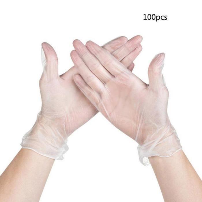 100pcs 9 pouces Gants médicaux jetables Taille L en caoutchouc de PVC micro-élastiques Transparents