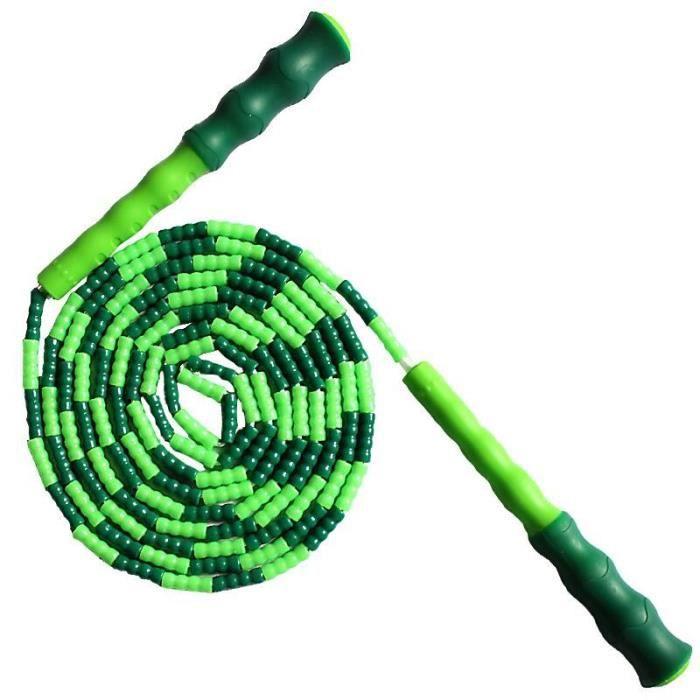 Corde à sauter souple perlée sans enchevêtrement longueur segmentée réglable corde à sauter fitness #2649